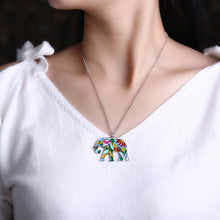Load image into Gallery viewer, Colorful Elephant Pendant Necklace