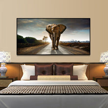 Load image into Gallery viewer, Elephant On The Road Canvas Painting