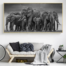 Load image into Gallery viewer, Elephant Family Canvas Painting