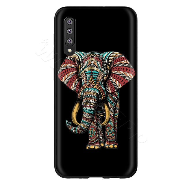 Mandala Elephant Black Phone Case - Samsung