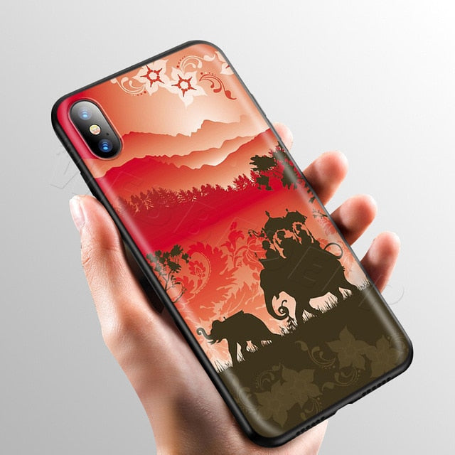 Elephants in the Sunset Phone Case -iPhone