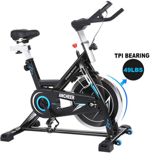 Indoor Cycling Bike Stationary Exercise Bikes, 49LBS Silent Belt Drive Chromed Flywheel with LCD Monitor, IPAD Holder, Caged Pedals, Adjustable Seat Cushion & Handlebar & Base for Home Workout