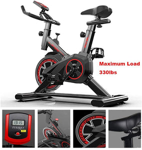 Exercise Bike,Indoor Fitness Cycling Bike Stationary, Adjustable Professional Exercise Training Sport Bike of 330 Lbs Weight Capacity with LCD Monitor for Home Workout,Musle,Black,43.3*33.46*17.72in