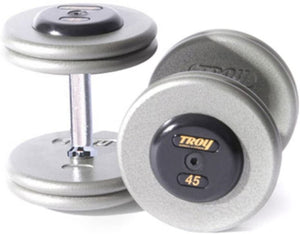Fixed Pro-Style Dumbbells - Straight Handle with Chrome End Cap