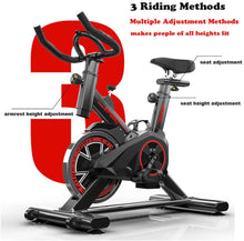 Load image into Gallery viewer, Exercise Bike,Indoor Fitness Cycling Bike Stationary, Adjustable Professional Exercise Training Sport Bike of 330 Lbs Weight Capacity with LCD Monitor for Home Workout,Musle,Black,43.3*33.46*17.72in