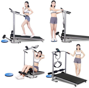 US Fast Shipment Walking Treadmill, 4 in 1 Folding Shock Running Supine T-wisting Draw Rope 4-in-1 Mechanical Treadmills Home Gym Workout Fitness Running Machine