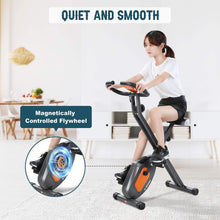 Load image into Gallery viewer, Exercise Bike Stationary Folding Magnetic Exercise Bike Machine Magnetic with Adjustable Resistance Pulse LCD Monitor Extra-Large Seat Cushion for Home Indoor Woman Man