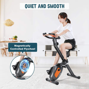 Exercise Bike Stationary Folding Magnetic Exercise Bike Machine Magnetic with Adjustable Resistance Pulse LCD Monitor Extra-Large Seat Cushion for Home Indoor Woman Man
