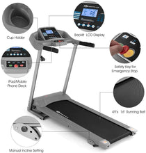 Load image into Gallery viewer, Quarantine Workout Jogging Treadmill, Folding Running Machine, Electric Treadmill Fitness Motorized 2.25HP 12 Modes Adjustable, 265 Lbs Max Load, LCD Display Safety Key, Home Walking Platform