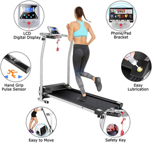 Folding Electric Treadmill Running Training Fitness Treadmill with LCD Display Walking Machine for Home
