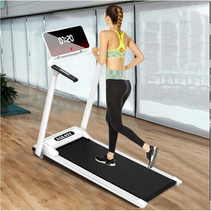 Electric Folding Treadmill | Motorized Portable Pad Treadmills Walking Jogging Running Exercise Fitness Machine w/Incline LCD Display and Bluetooth Speaker (from US, Silver)