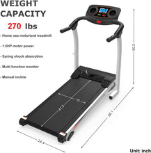 Load image into Gallery viewer, Home Folding Treadmill with Incline, Quiet White 270lb Heavy Duty Motorized Electric Treadmill Running Walking Jogging Machine W/Hand Pulse Sensor Cup Holder Safety Key Home Exercise Machine