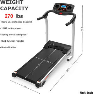 Home Folding Treadmill with Incline, Quiet White 270lb Heavy Duty Motorized Electric Treadmill Running Walking Jogging Machine W/Hand Pulse Sensor Cup Holder Safety Key Home Exercise Machine
