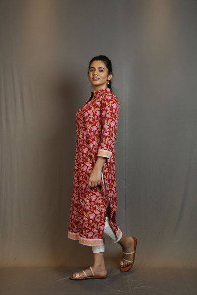 Chinese Collar Red Floral Top