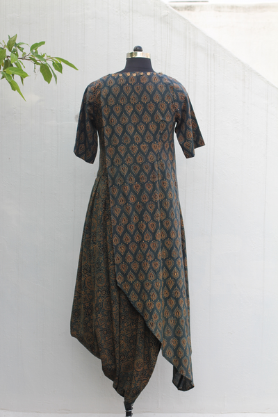 Overlap cowl casual dress