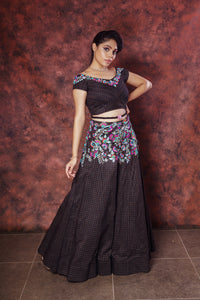 Resham Embroidered Black Lehenga
