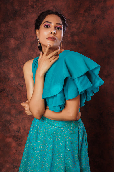 One Side Layered Ruffle Croptop & Kota Khadi Print Skirt