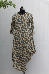 One side cowl ajrakh dress