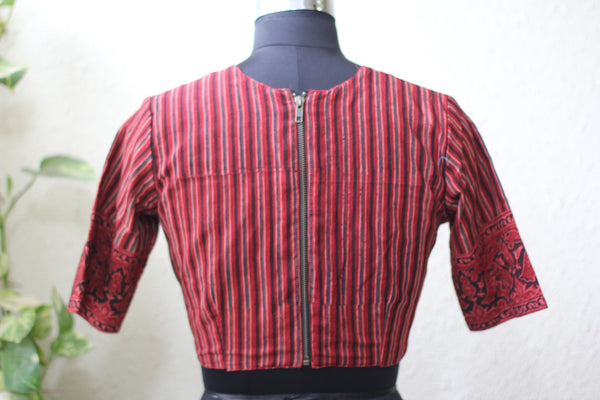 Ajrakh Cotton -V-Neck Blouse