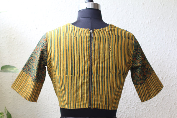 Ajrakh Cotton - Pot Neck Blouse
