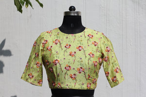 Linen Floral Printed Crop Top
