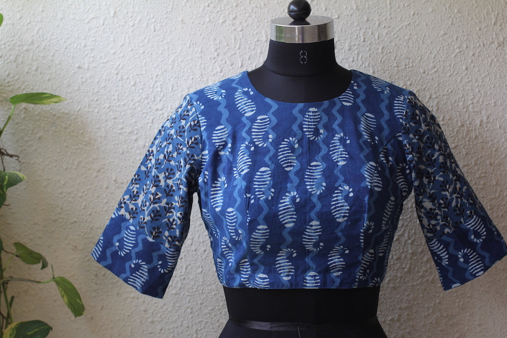 Ajrakh Cotton-crew neck Blouse