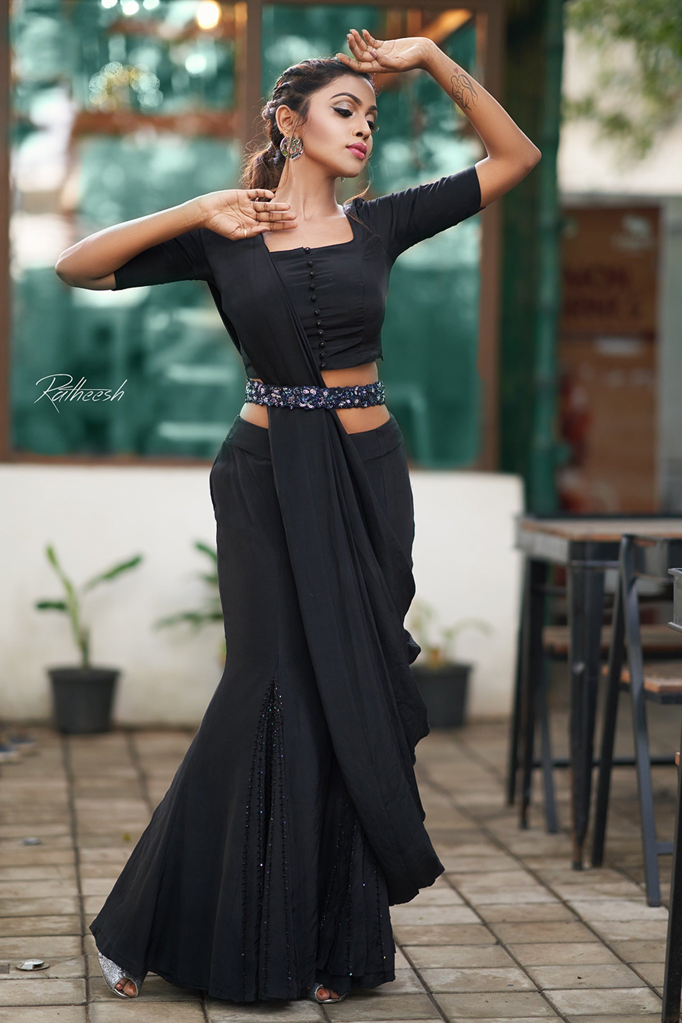 Fishtail Black Lehenga