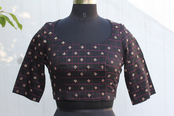 Chanderi Pot Neck Crop Top