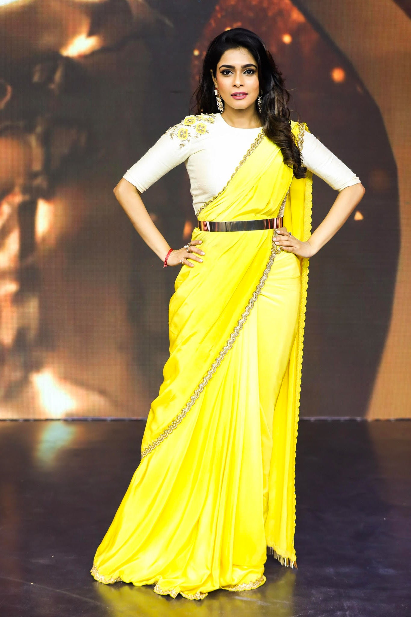Dual Shaded Yellow Drape Saree