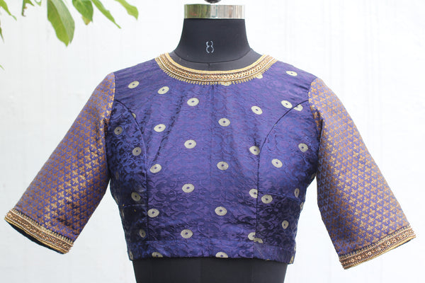 Midnight Blue Banarasi Crop Top