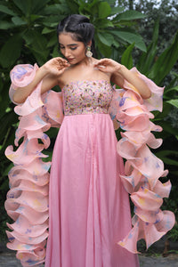 Crepe Gown & Organza Ruffles