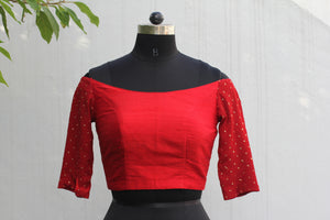 off shoulder red crop top