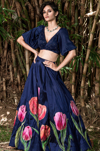 Hand Painted 'TULIP' Lehenga From 'VARNAM' Collection