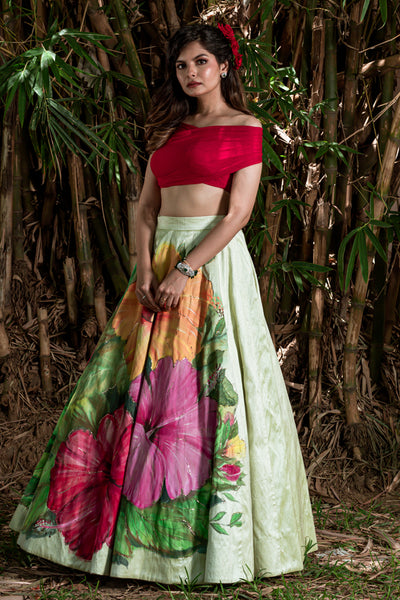 Hand Painted 'SEMBARUTHI' Lehenga From 'VARNAM' Collection