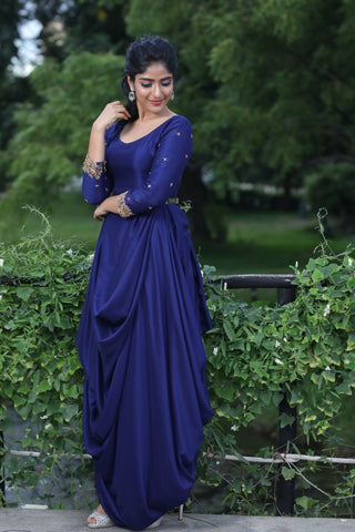 Blue Cowl Drape Dress