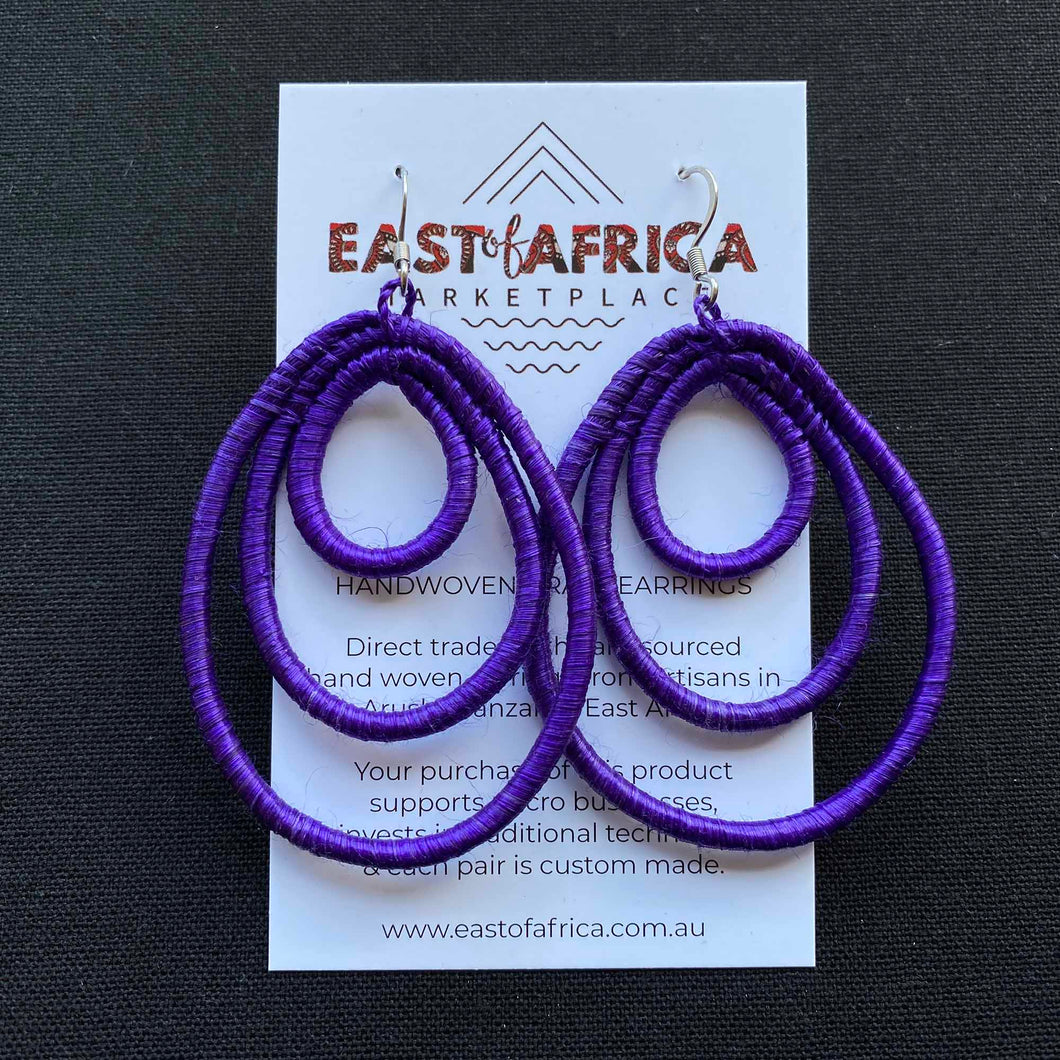 Trio Loop Woven Earrings PURPLE