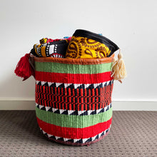 Load image into Gallery viewer, Upcycled Woollen Hand Woven Storage Basket 21/01