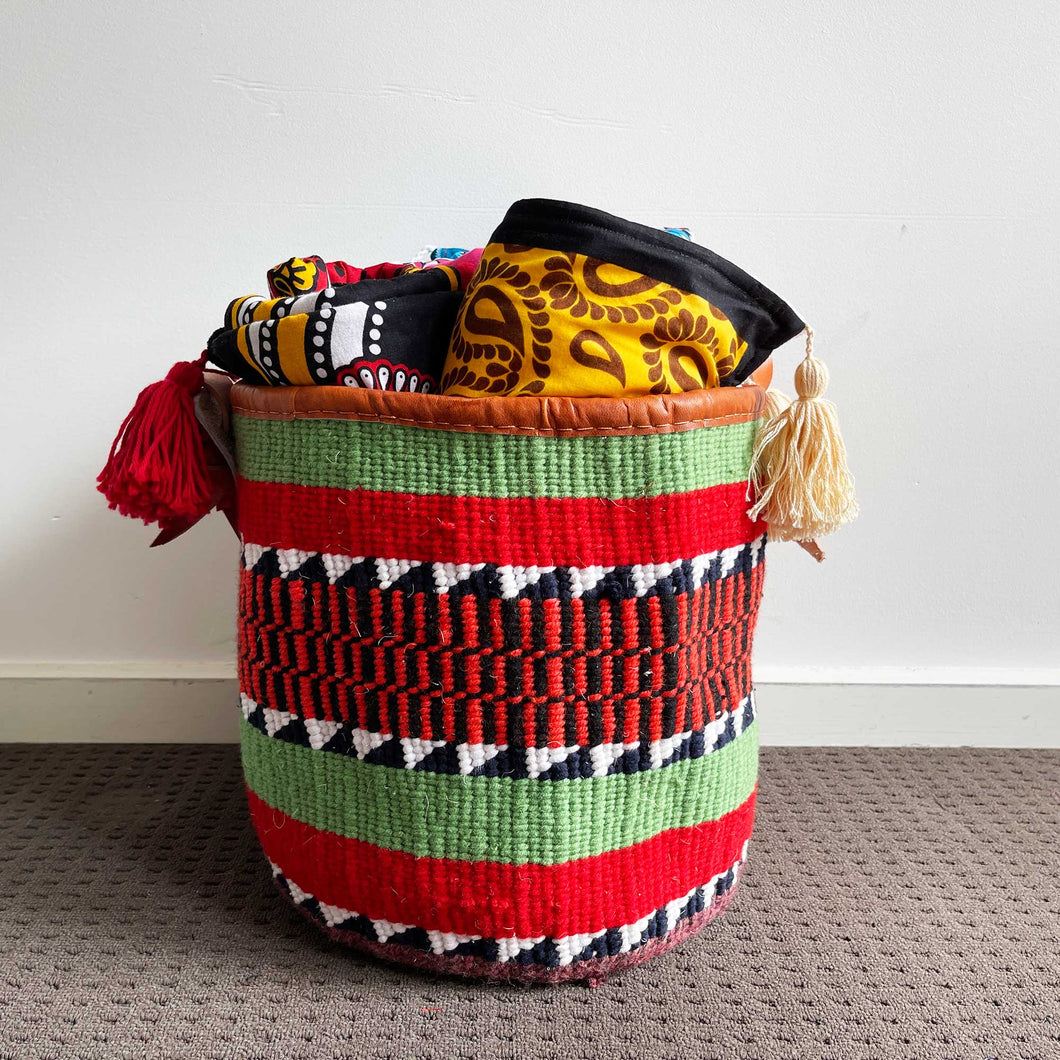 Upcycled Woollen Hand Woven Storage Basket 21/01