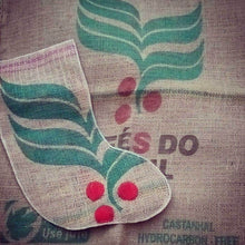 Load image into Gallery viewer, Hand Stitched Coffee Sack Christmas Stocking