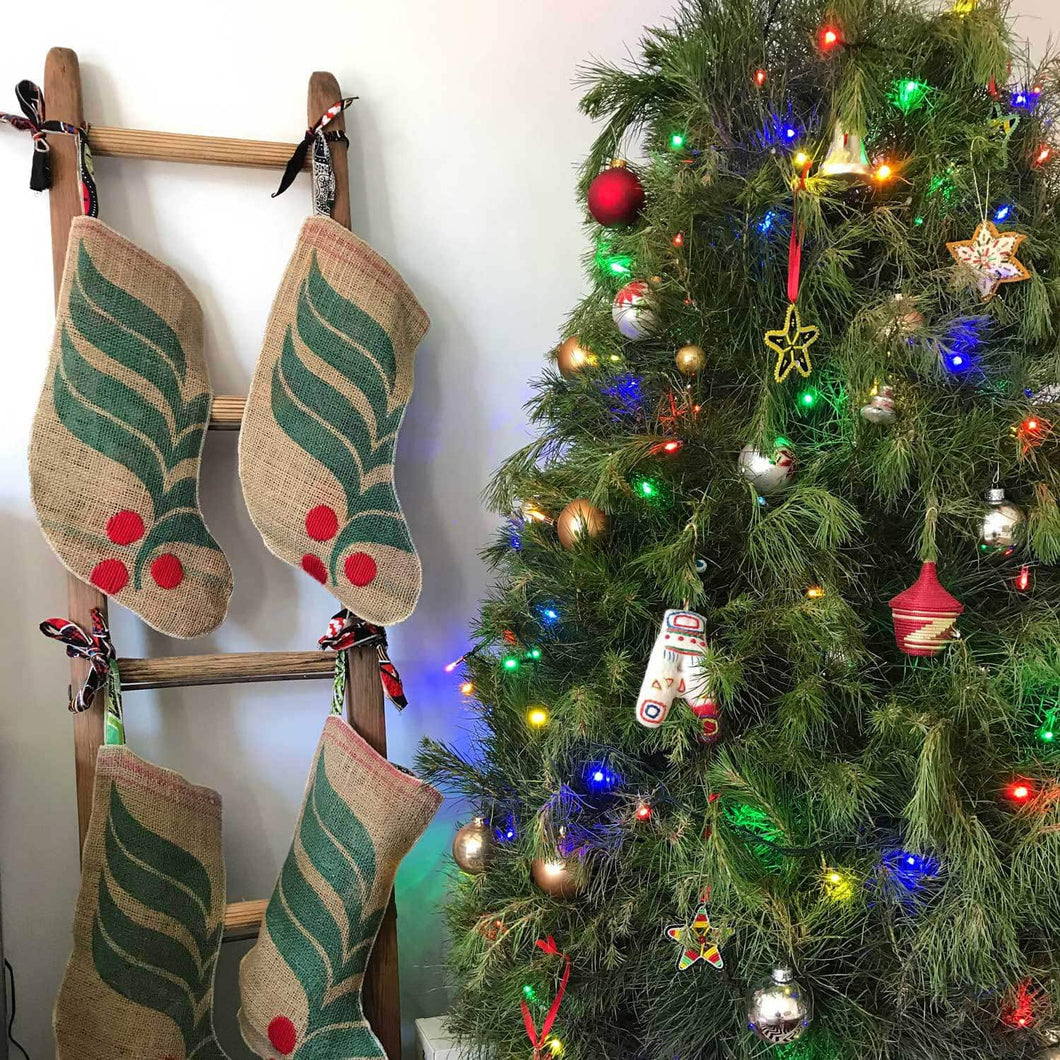 Hand Stitched Coffee Sack Christmas Stocking