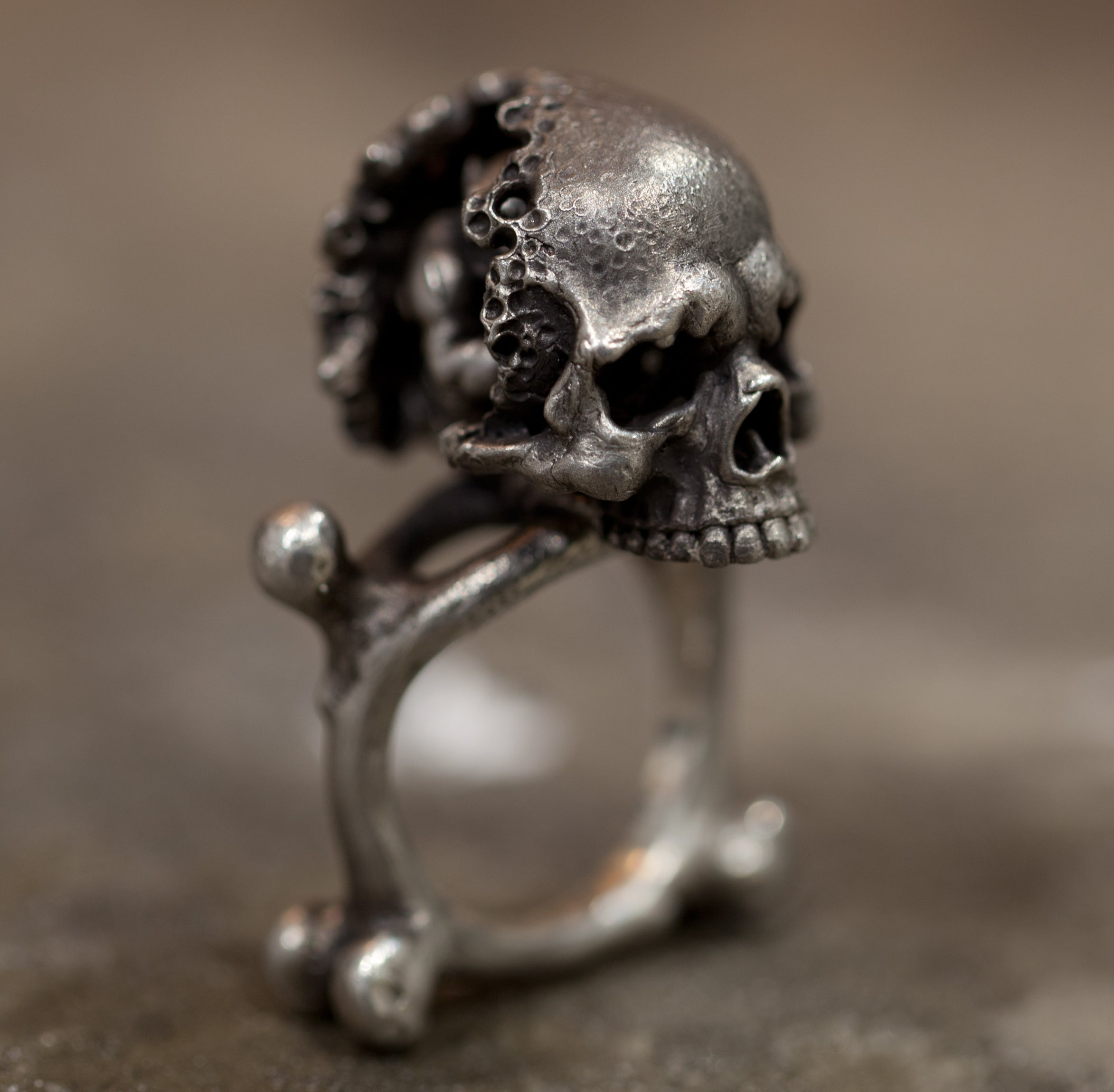 Hand sculpted eroded silver skull ring with concealed demon hidden inside. Handmade by Damian Regan