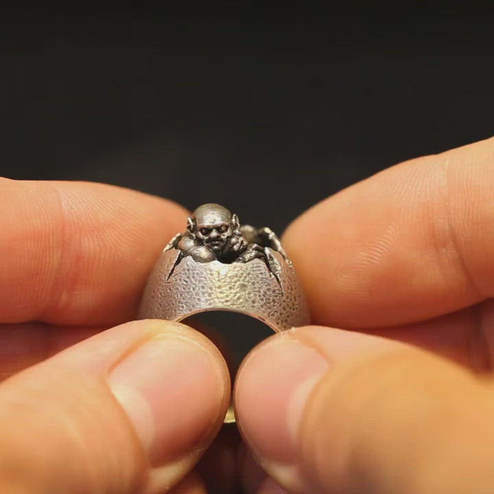 Sterling Silver Demon Egg Signet Ring