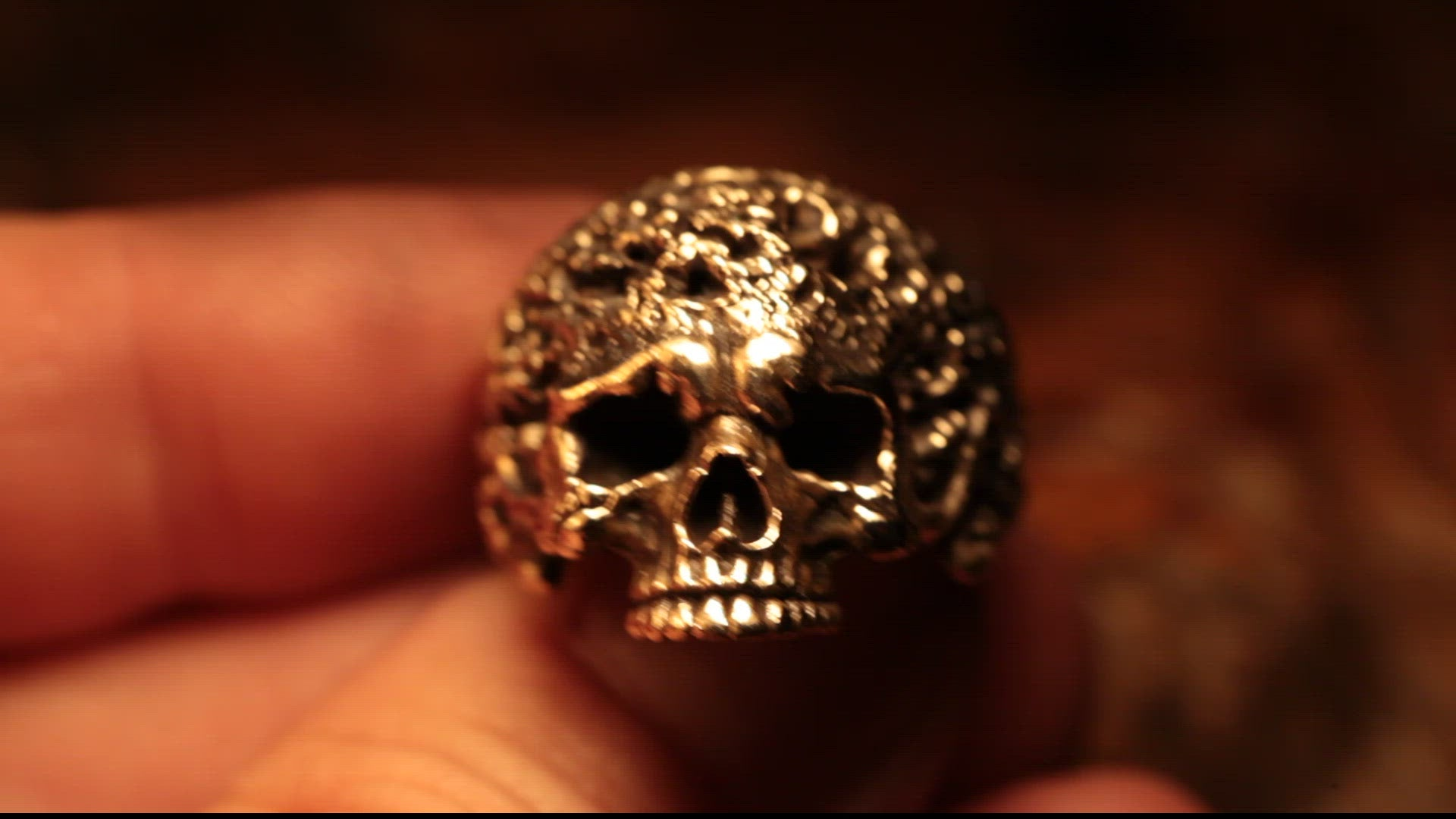 Eroded Polished Skull Ring