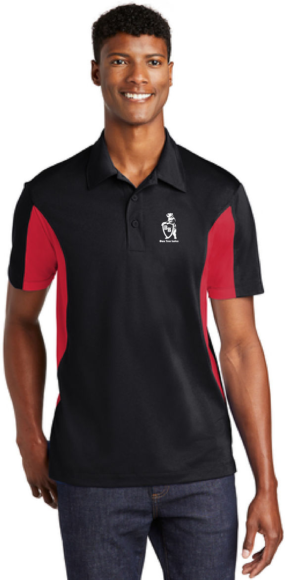 Sport Polo Shirt, Black/True Red - Micropique Sport-Wicking Material