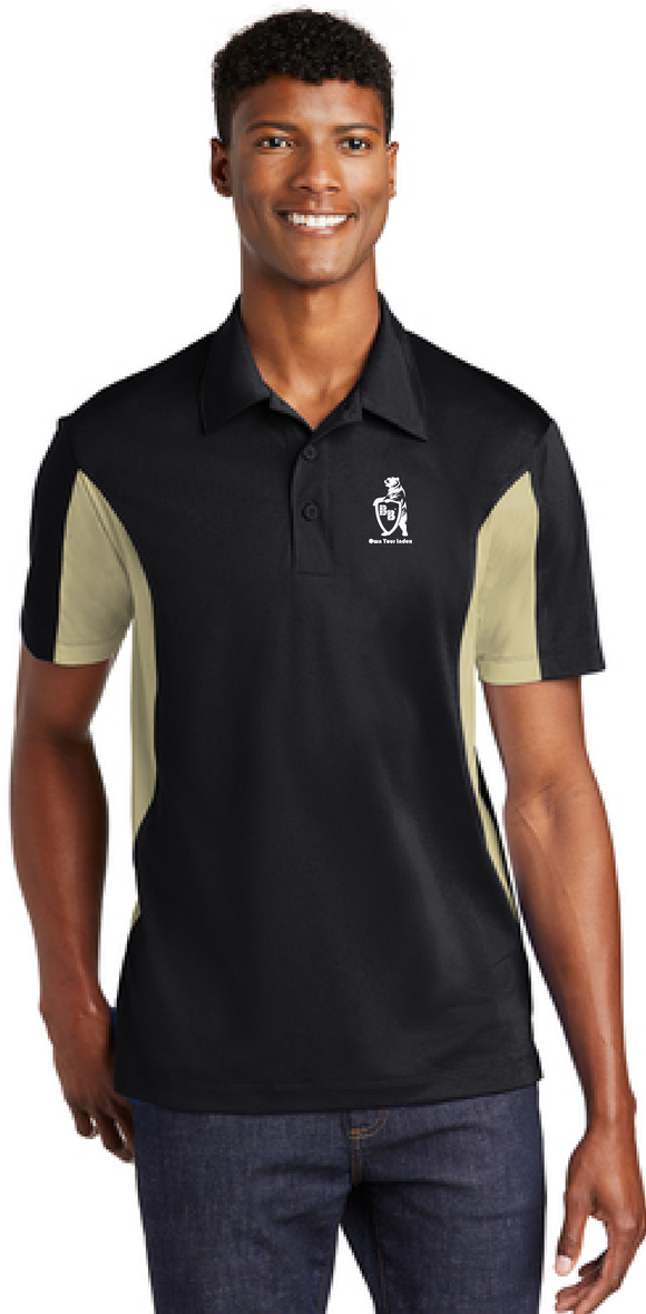 Sport Polo Shirt, Black/Vegas Gold - Micropique Sport-Wicking Material