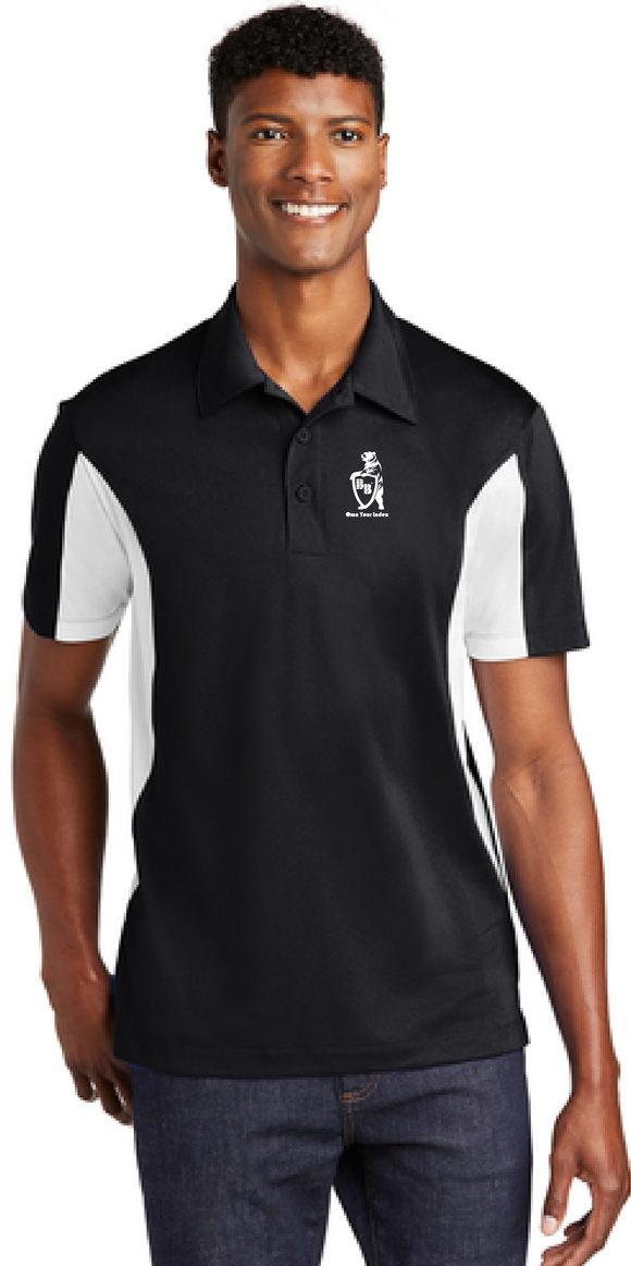 Sport Polo Shirt, Black/White - Micropique Sport-Wicking Material