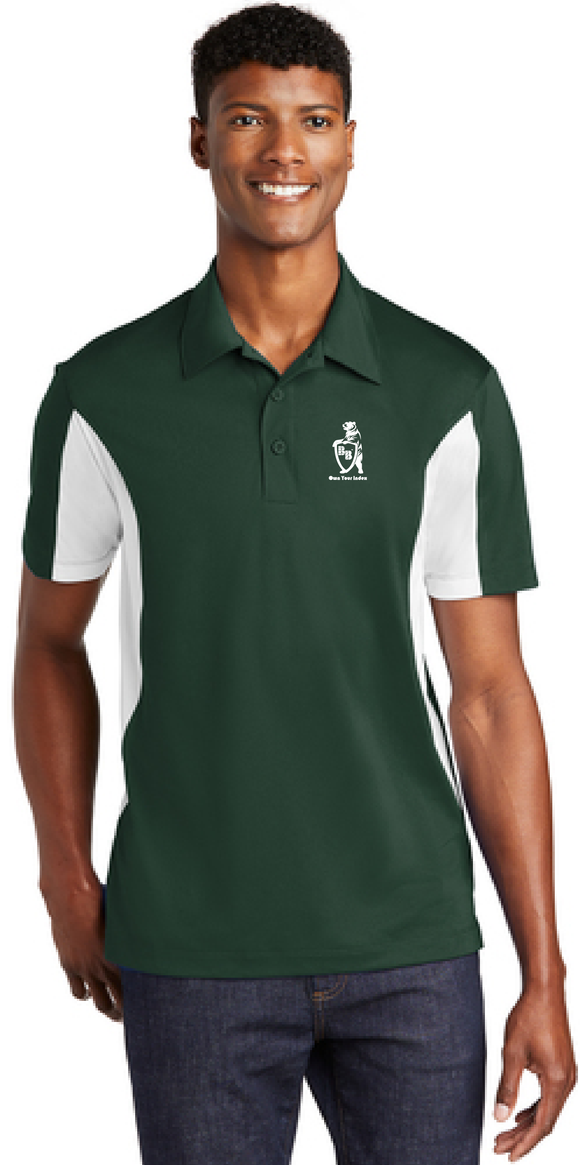 Polo Shirt, Forest Green/White - Micropique Sport-Wicking Material