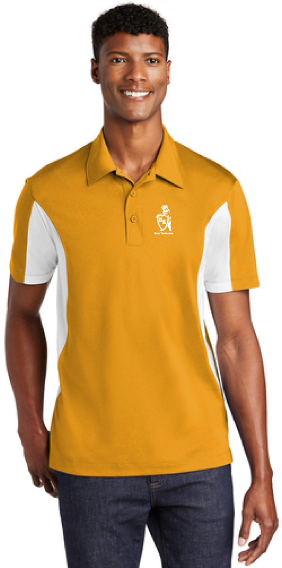 Sport Polo Shirt, Gold/White - Micropique Sport-Wicking Material