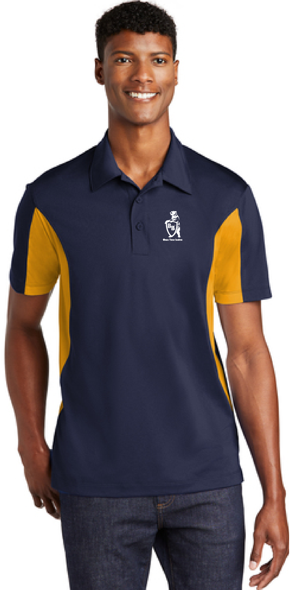 Sport Polo Shirt, Navy/Gold - Micropique Sport-Wicking Material