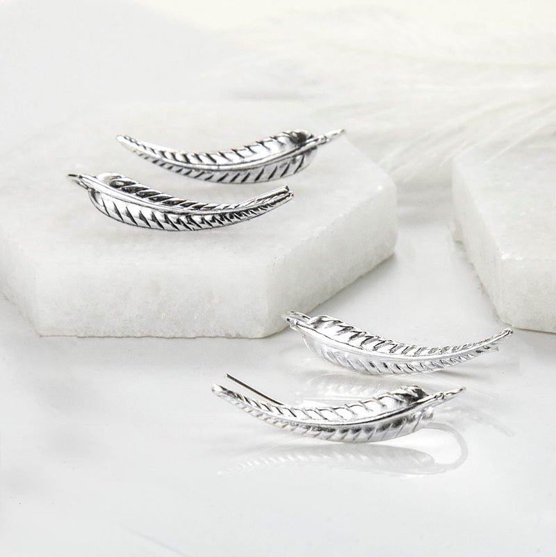 Sterling Silver Fern Leaf Ear Climbers